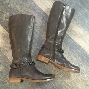 Coach leather riding boots cocoa brown EUC size 7